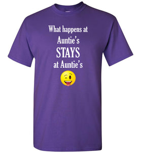 What Happens at Auntie's Stays at Auntie's Emoji  Youth Unisex Tee Shirt T-shirt Tshirt - white text
