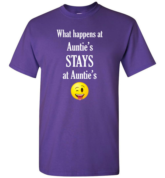 What Happens at Auntie's Stays at Auntie's Emoji  Youth Unisex Tee Shirt T-shirt Tshirt - white text - Order by 12/10 for Christmas