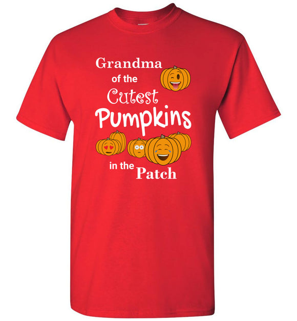 Grandma of the Cutest Pumpkins in the Patch Adult Unisex Tee Shirt T-shirt Tshirt - white text