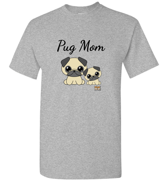Pug Mom Issho Ni Kawaii Cute Together Unisex Tee Tshirt T-shirt Black Txt