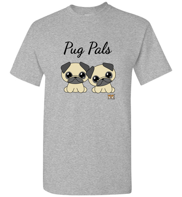 Pug Pals Unisex Adult or Youth Tee Tshirt T-shirt black text - Issho ni Kawaii cute together