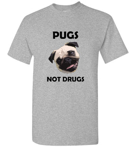 Pugs Not Drugs Pug Face Adult or Youth Unisex Light Tee Tshirt T-shirt
