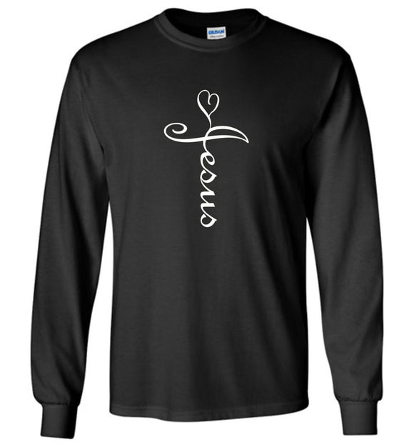 Jesus Cross Heart Caligraphy Cursive Adult or Youth Long Sleeve tee shirt tshirt t-shirt for men or women - white text