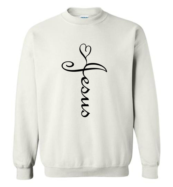 Jesus Cross Heart Caligraphy Cursive Adult or Youth Sweatshirt for men or women - black text