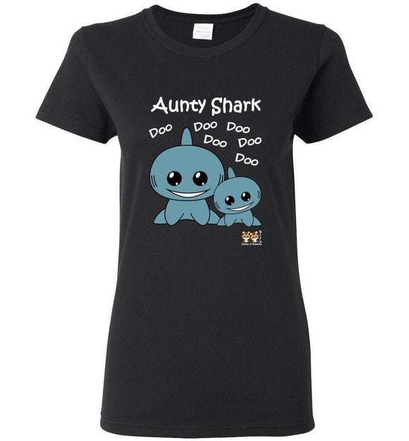 Baby Shark Family - Aunty Shark Song Doo Do Dark Ladies Tshirt tee shirt t-shirt