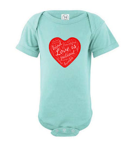 "1 Corinthians 13 ""Love is..."" Short Sleeve Onesie"
