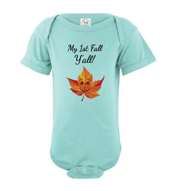 My First Fall Y'all Short Sleeve Baby Bodysuit Romper Jumper - Smile Emoji Leaf