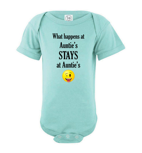 What Happens at Auntie's Stays at Auntie's Emoji Short Sleeve Baby Bodysuit Romper Jumper - Order by 12/10 for Christmas