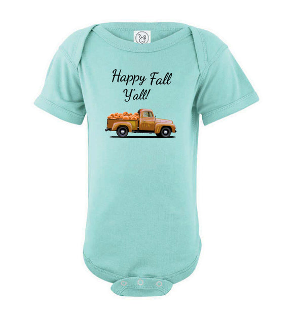 Happy Fall Y'all Brown Pumpkin Truck Baby Short Sleeve Romper Bodysuit Jumper