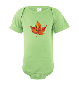 Smile Emoji Leaf Fall Baby Short Sleeve Romper Bodysuit Jumper