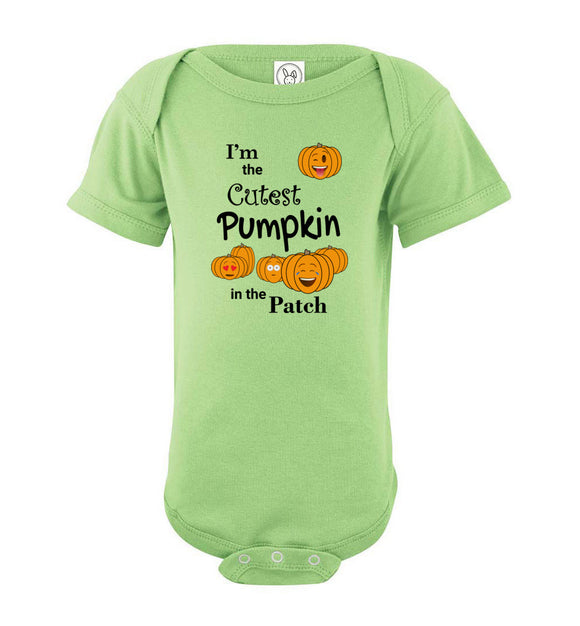 I'm the Cutest Pumpkin in the Patch Emojis Short Sleeve Baby Bodysuit Romper Jumper