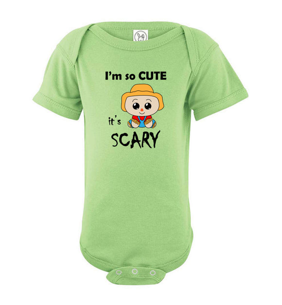 I'm So Cute It's Scary Scarecrow Short Sleeve Baby Bodysuit Romper Jumper