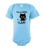 I'm So Cute It's Scary Black Cat Short Sleeve Baby Bodysuit Romper Jumper