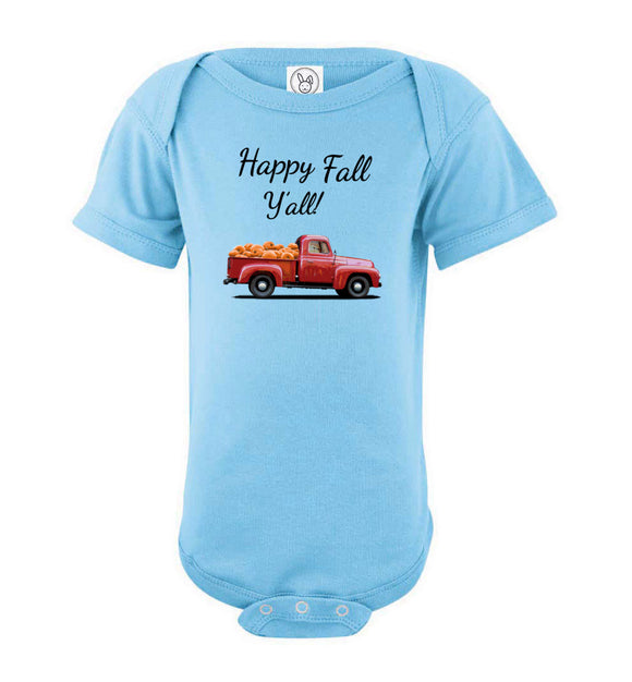 Happy Fall Y'all Red Pumpkin Truck Baby Short Sleeve Romper Bodysuit Jumper