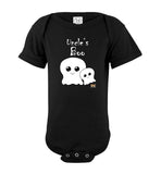 Uncle's Boo Short Sleeve Baby Romper Jumpsuit Bodysuit black text