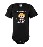 I'm So Cute It's Scary Scarecrow Short Sleeve Baby Bodysuit Romper Jumper - wht- Halloween