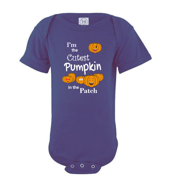 I'm the Cutest Pumpkin in the Patch Emojis Short Sleeve Baby Bodysuit Romper Jumper - white text - Order by 12/10 for Christmas