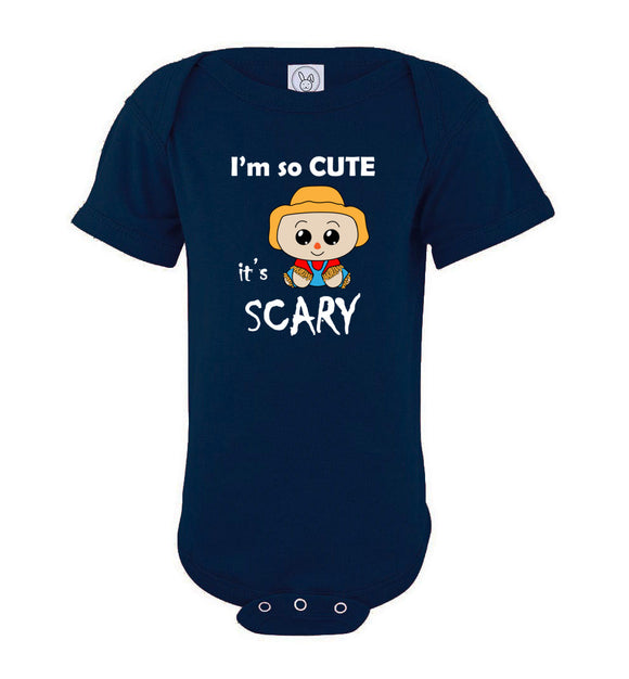 I'm So Cute It's Scary Scarecrow Short Sleeve Baby Bodysuit Romper Jumper - white text