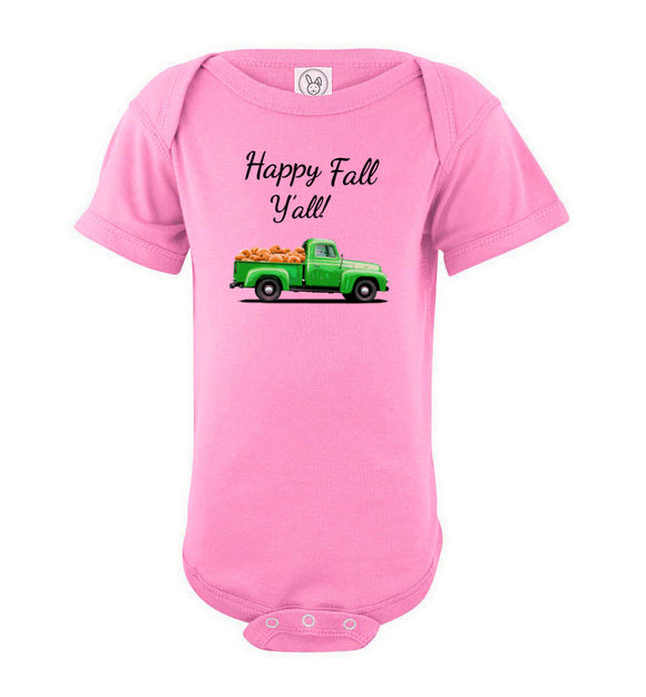 Happy Fall Y'all Green Pumpkin Truck Baby Short Sleeve Romper Bodysuit Jumper