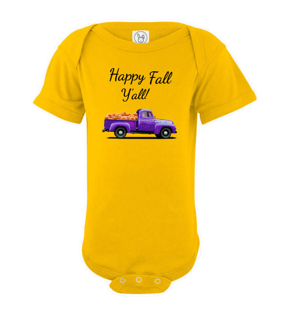 Happy Fall Y'all Purple Pumpkin Truck Baby Short Sleeve Romper Bodysuit Jumper