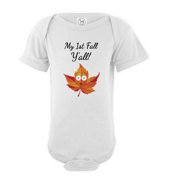 My First Fall Y'all Short Sleeve Baby Bodysuit Romper Jumper - Shock Emoji Leaf
