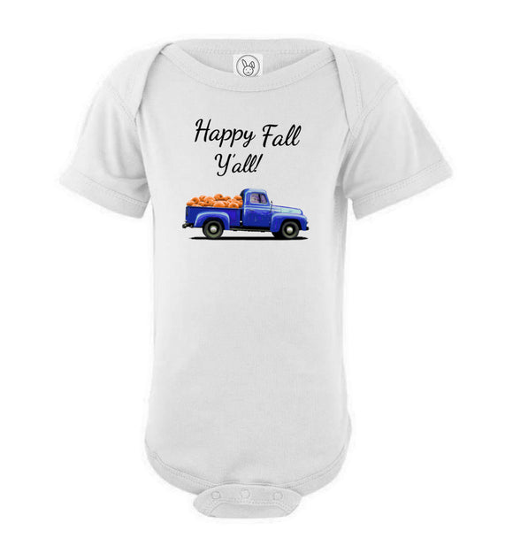 Happy Fall Y'all Blue Pumpkin Truck Baby Short Sleeve Romper Bodysuit Jumper