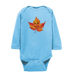 Smile Emoji Leaf Fall Baby Long Sleeve Romper Bodysuit Jumper