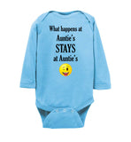 What Happens at Auntie's Stays at Auntie's Emoji Long Sleeve Baby Bodysuit Romper Jumper
