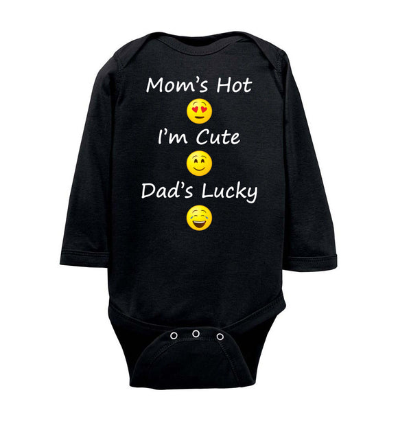 Mom's Hot, I'm Cute, Dad's Lucky Emoji Long Sleeve Baby Bodysuit Romper Jumper - wht