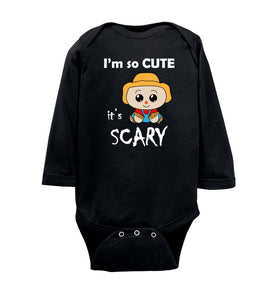 I'm So Cute It's Scary Scarecrow Long Sleeve Baby Bodysuit Romper Jumper - wht- Halloween