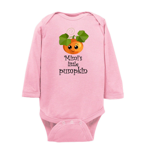 Mimi's Little Pumpkin Long Sleeve Infant Baby Bodysuit Romper Jumper - Order by 12/10 for Christmas