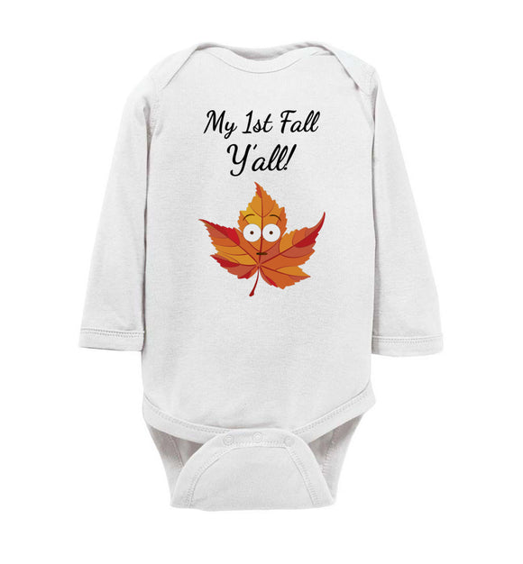My First Fall Y'all Long Sleeve Baby Bodysuit Romper Jumper - Shock Emoji Leaf