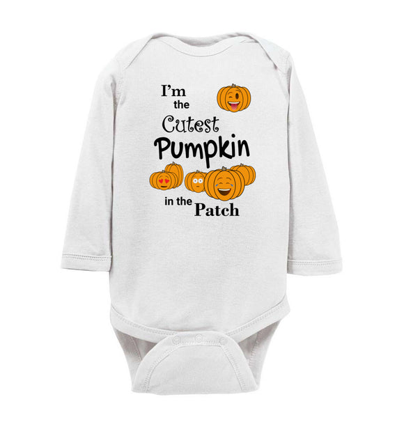 I'm the Cutest Pumpkin in the Patch Emojis Long Sleeve Baby Bodysuit Romper Jumper - Order by 12/10 for Christmas