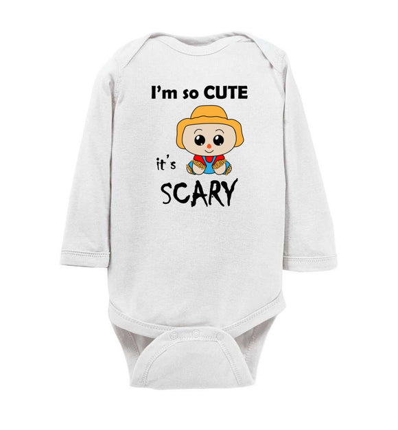 I'm So Cute It's Scary Scarecrow Long Sleeve Baby Bodysuit Romper Jumper