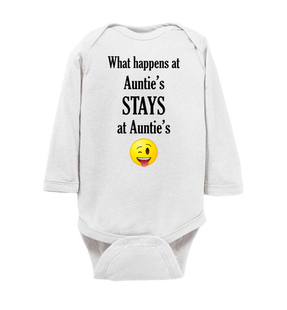 What Happens at Auntie's Stays at Auntie's Emoji Long Sleeve Baby Bodysuit Romper Jumper - Order by 12/10 for Christmas