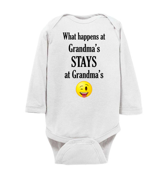 What Happens at Grandma's Stays at Grandma's Emoji Long Sleeve Baby Bodysuit Romper Jumper - Order by 12/10 for Christmas