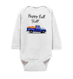 Happy Fall Y'all Blue Pumpkin Truck Baby Long Sleeve Romper Bodysuit Jumper