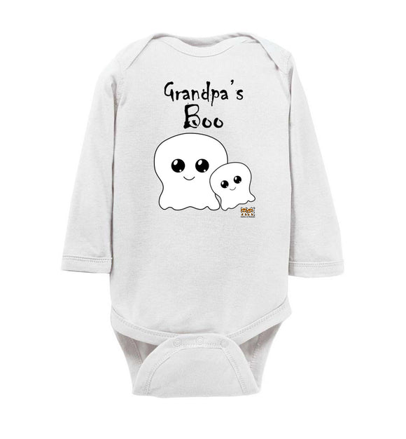 Grandpa's Boo Long Sleeve Baby Romper Jumpsuit Bodysuit black text