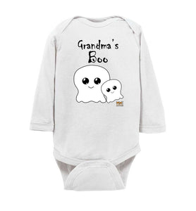 Grandma's Boo Long Sleeve Baby Romper Jumpsuit Bodysuit black text