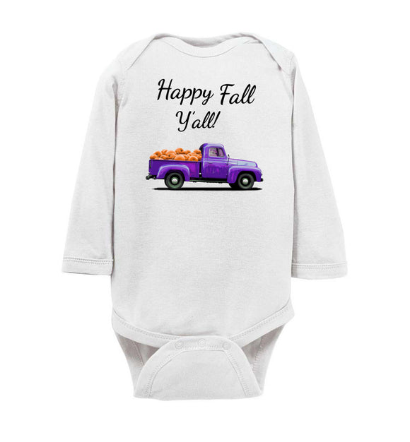 Happy Fall Y'all Purple Pumpkin Truck Baby Long Sleeve Romper Bodysuit Jumper