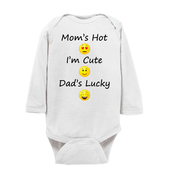 Mom's Hot, I'm Cute, Dad's Lucky Long Sleeve Baby Bodysuit Romper Jumper - Order by 12/10 for Christmas