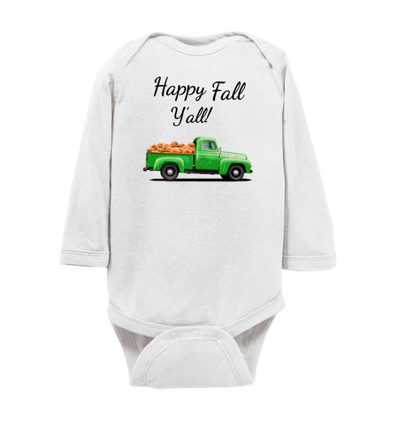 Happy Fall Y'all Green Pumpkin Truck Baby Long Sleeve Romper Bodysuit Jumper