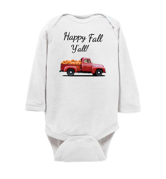 Happy Fall Y'all Red Pumpkin Truck Baby Long Sleeve Romper Bodysuit Jumper - Order by 12/10 for Christmas