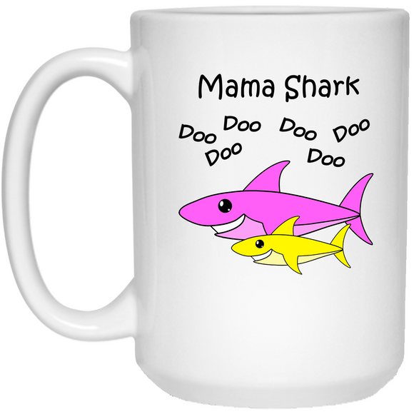 Mama Shark - Baby Shark Song Family - 15 oz. White Mug