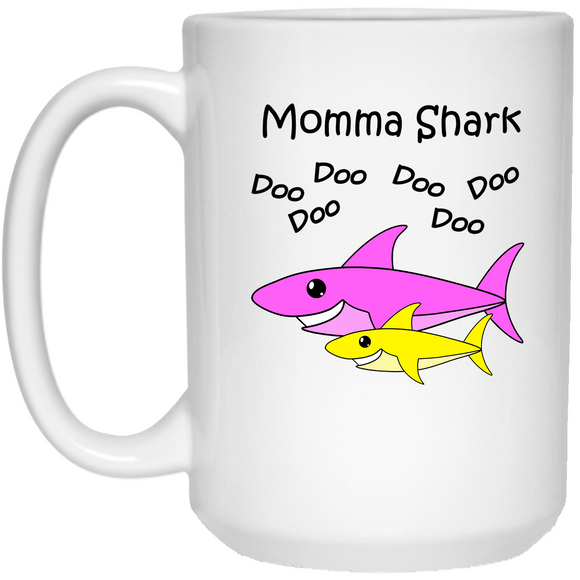 Momma Shark - Baby Shark Song Family - 15 oz. White Mug