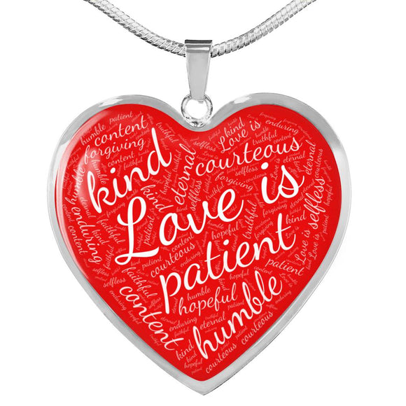 1 Corinthians 13 Heart Pendant Necklace in Silver or Gold, with Engraving Option. White on Red