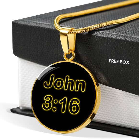 John 3:16 Round Gold Plated Pendant Necklace for Men or Women - With Engraving Option