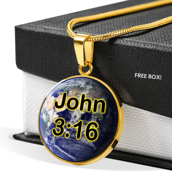 John 3:16 Earth Round Gold Plated Pendant Necklace for Men or Women - With Engraving Option