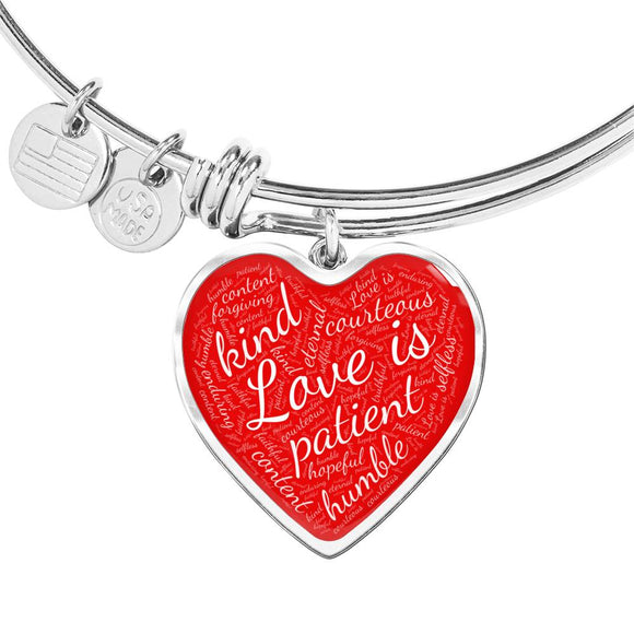 1 Corinthians 13 Heart Bangle Bracelet in Silver or Gold, with Engraving Option. White on Red