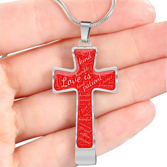 1 Corinthians 13 Cross Pendant Necklace in Silver or Gold, with Engraving Option. White on Red